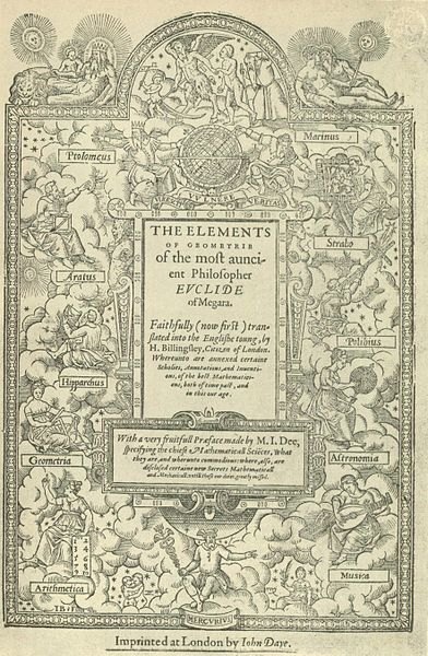 Title page of Sir Henry Billingsley's first English version of Euclid's Elements, 1570. Image: Public Domain