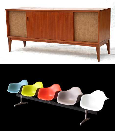 Top: Clairtone Stereo Cabinet by Flickr User Stephen Coles (CC BY-NC-SA 2.0). Bottom: Eames Chair by Flickr User Rama (CC BY-SA 2.0 FR)
