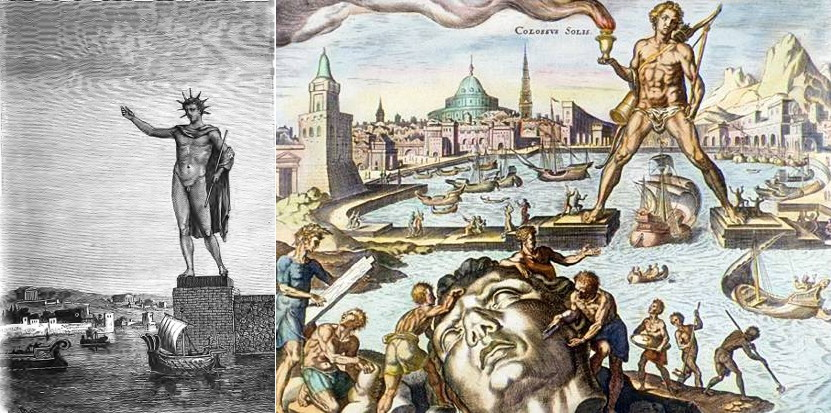 Two versions of Colossus of Rhodes. Both images in the public domain.