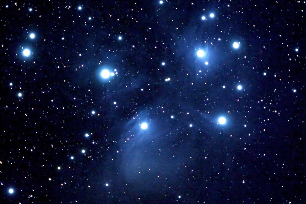 The Pleiades, Messier Object M45, by Flickr user Bob Star CC BY 2.0
