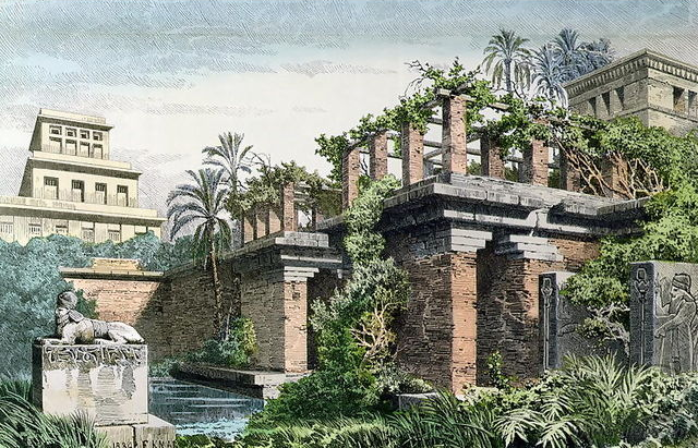 Hanging Gardens of Babylon by Ferdinand Knab (1886), Image in the Public Domain