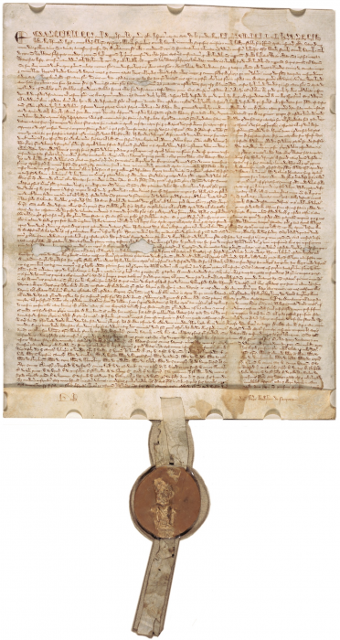 The Magna Carta. Image is in the public domain because its copyright expired.