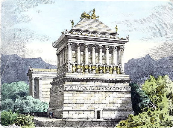 The Mausoleum at Halicarnassus by Ferdinand Knab (1886), image in the public domain.