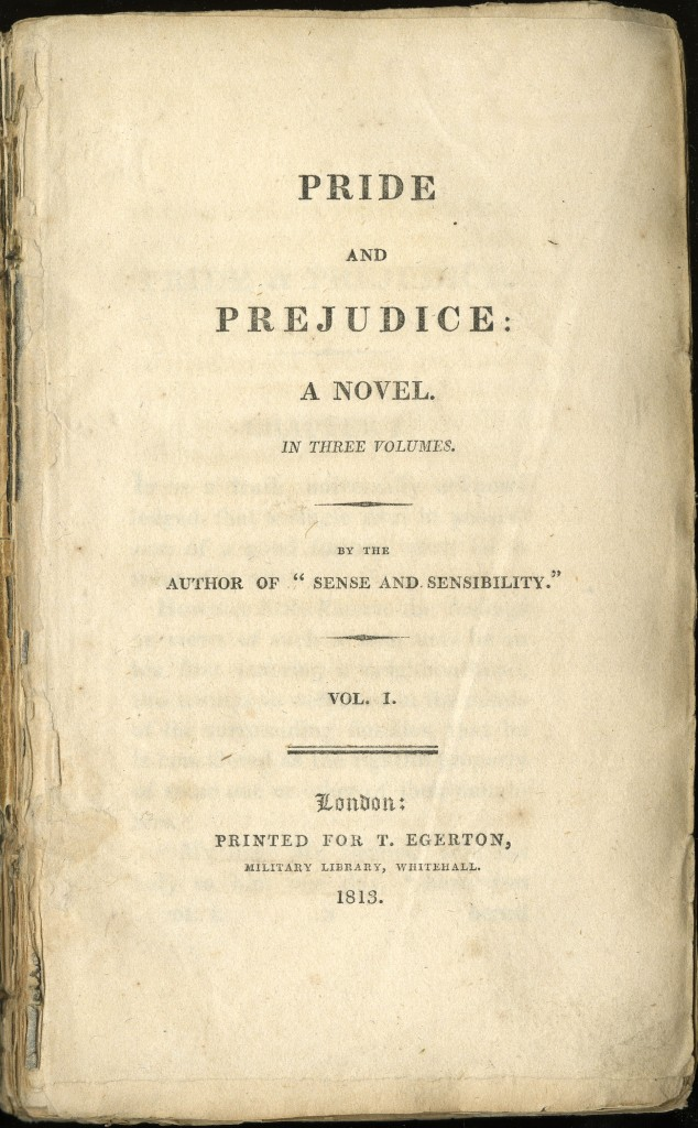 Pride and Prejudice title page. Image is in the public domain.