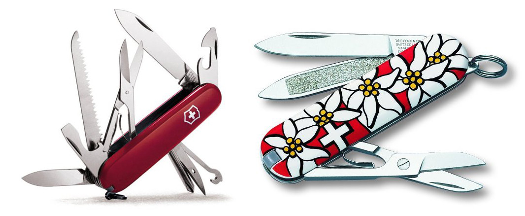 Images: Victorinox. Note: Images are at different scales. The knife on the right is smaller than the one on the left.