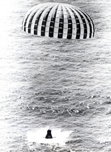 """Little Joe"" 5B launched a Mercury spacecraft in a high-Q-abort test. The ring-sail parachute lands the spacecraft off the shore of Wallops Island, Virginia. The Little Joe rocket booster was developed as a cheaper, smaller, and more functional alternative to the Redstone rockets. Little Joe could be produced at one-fifth the cost of Redstone rockets and still have enough power to carry a capsule payload. Seven unmanned Little Joe rockets were launched at Wallops Island, Virginia, from August 1959 to April 1961. Image: NASA"