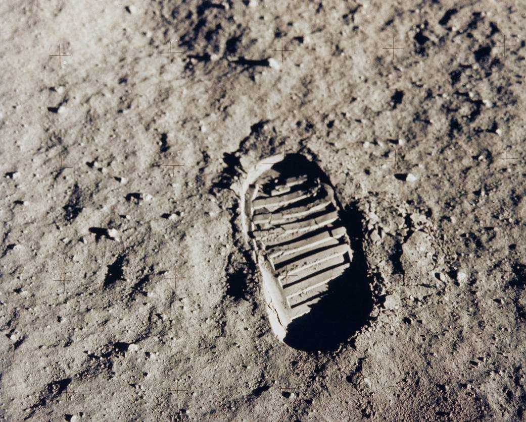 One of the first steps taken on the Moon, this is an image of Buzz Aldrin's bootprint from the Apollo 11 mission. Neil Armstrong and Buzz Aldrin walked on the Moon on July 20, 1969. The Apollo 11 mission launched on July 16 on a Saturn V launch vehicle developed by NASA's Marshall Space Flight Center in Huntsville, Alabama. Image credit: NASA