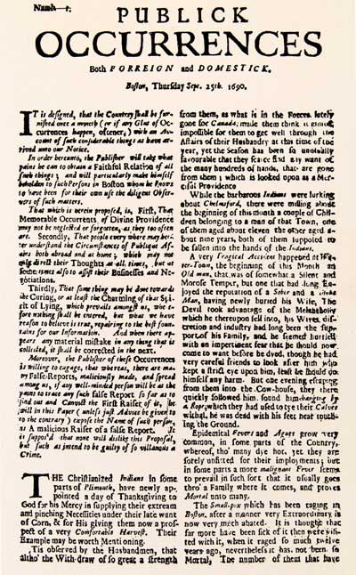 The only issue of the colonies' first newspaper published in Boston 1690.