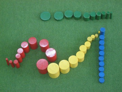 Typical Montessori Colored Cylinders by Wikimedia user MattThePuppetGuy CC BY-SA 3.0