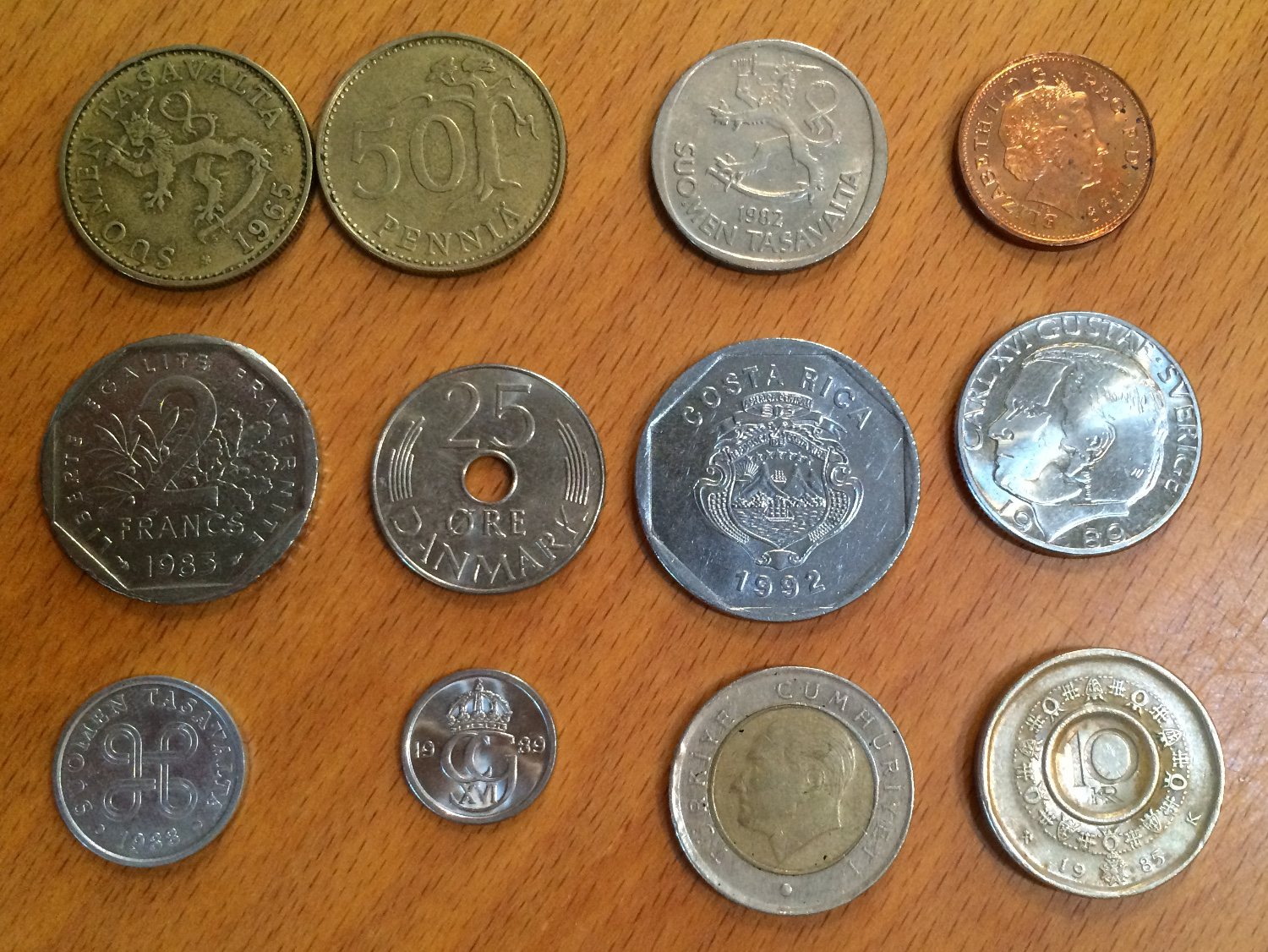 Various coins from my aunt and uncle's collection that they graciously sent to me. Photo: Jenny Bristol