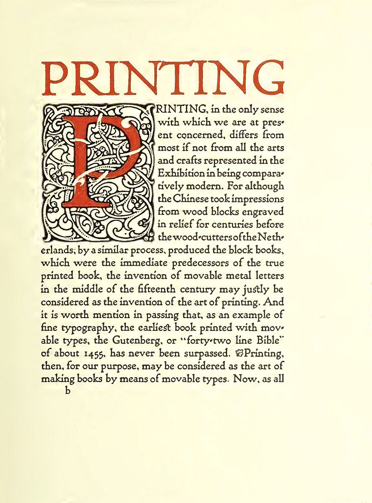 Printing, written by William Morris I believe. Image: Public Domain