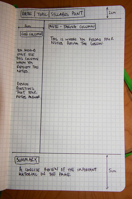 Cornell Note-taking System by Flickr user Richard Allaway (CC BY 2.0)